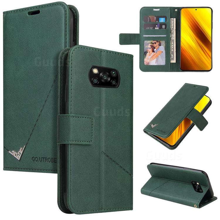 GQ.UTROBE Right Angle Silver Pendant Leather Wallet Phone Case for Mi Xiaomi Poco X3 NFC - Green