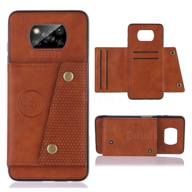 Retro Multifunction Card Slots Stand Leather Coated Phone Back Cover for Mi Xiaomi Poco X3 NFC - Brown