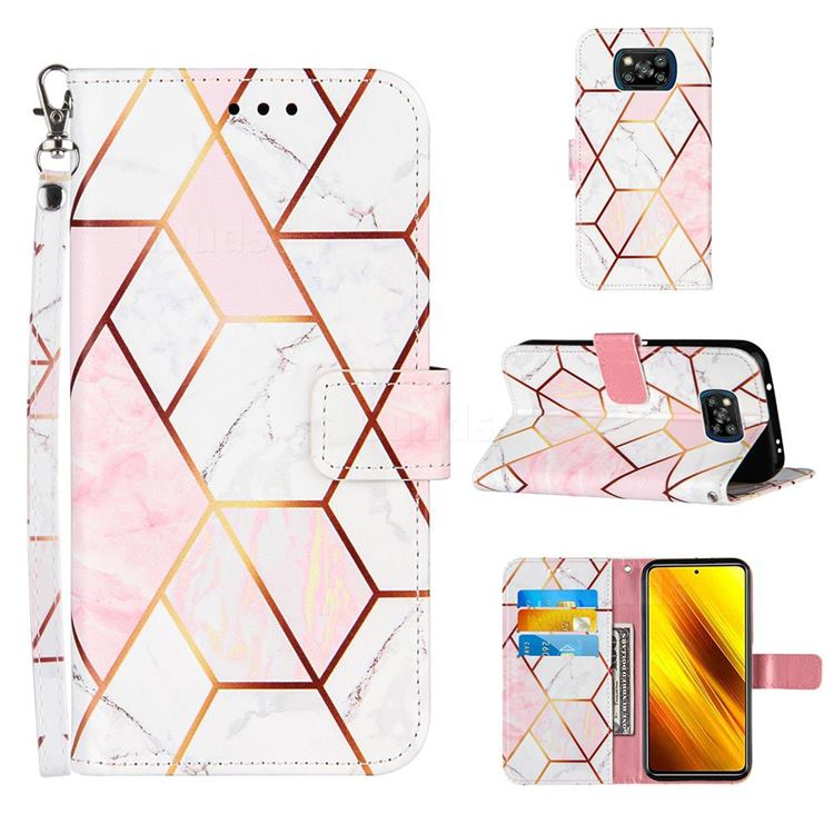 Pink White Stitching Color Marble Leather Wallet Case for Mi Xiaomi Poco X3 NFC