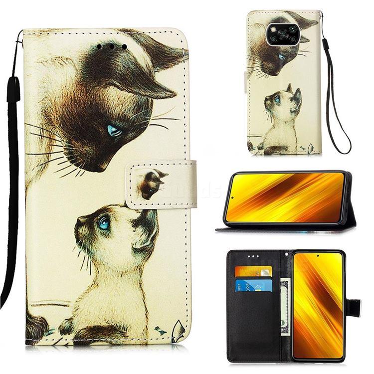 Cat Confrontation Matte Leather Wallet Phone Case for Mi Xiaomi Poco X3 NFC