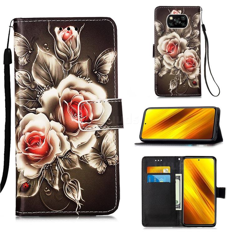 Black Rose Matte Leather Wallet Phone Case for Mi Xiaomi Poco X3 NFC