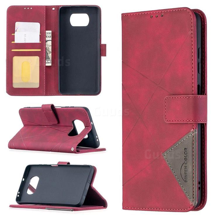 Binfen Color BF05 Prismatic Slim Wallet Flip Cover for Mi Xiaomi Poco X3 NFC - Red