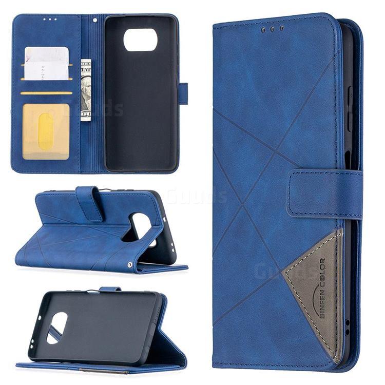 Binfen Color BF05 Prismatic Slim Wallet Flip Cover for Mi Xiaomi Poco X3 NFC - Blue