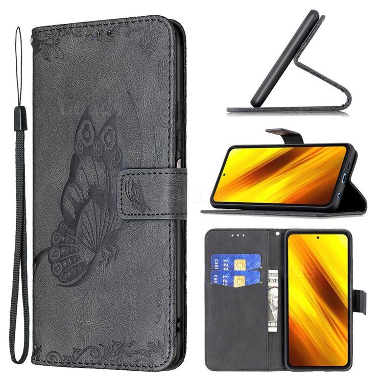 Binfen Color Imprint Vivid Butterfly Leather Wallet Case for Mi Xiaomi Poco X3 NFC - Black