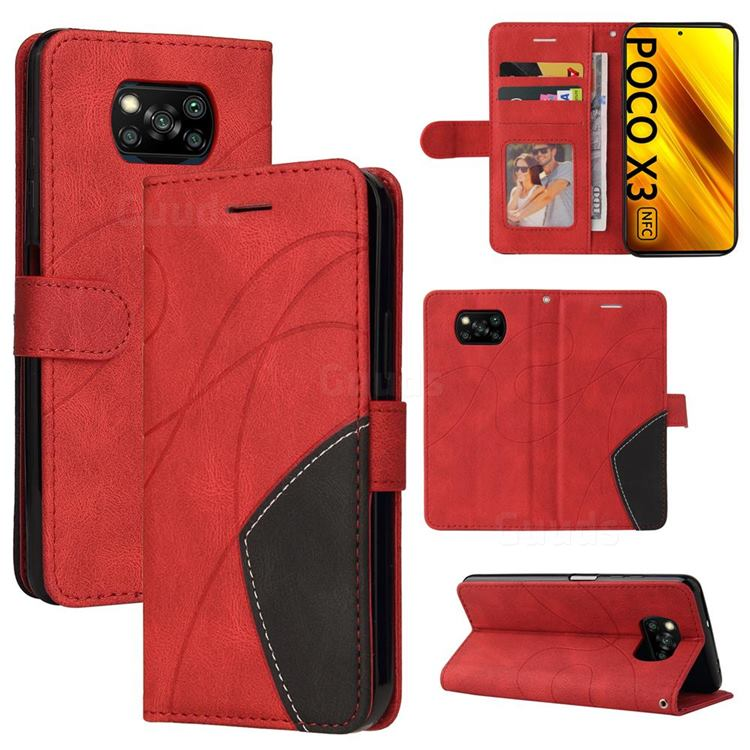 Luxury Two-color Stitching Leather Wallet Case Cover for Mi Xiaomi Poco X3 NFC - Red