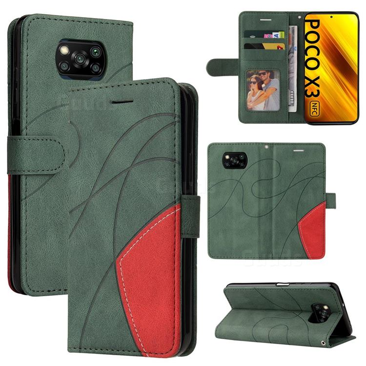 Luxury Two-color Stitching Leather Wallet Case Cover for Mi Xiaomi Poco X3 NFC - Green