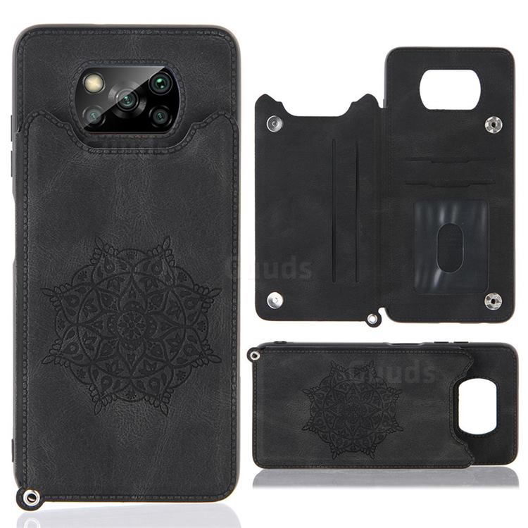 Luxury Mandala Multi-function Magnetic Card Slots Stand Leather Back Cover for Mi Xiaomi Poco X3 NFC - Black