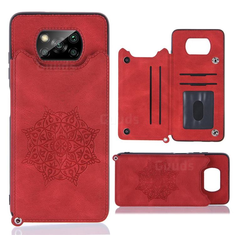 Luxury Mandala Multi-function Magnetic Card Slots Stand Leather Back Cover for Mi Xiaomi Poco X3 NFC - Red