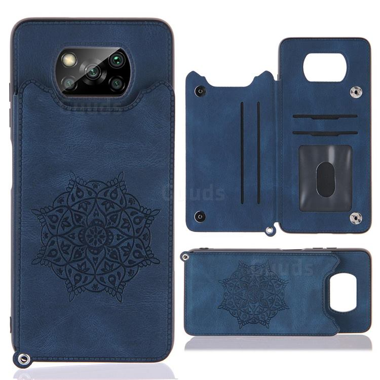 Luxury Mandala Multi-function Magnetic Card Slots Stand Leather Back Cover for Mi Xiaomi Poco X3 NFC - Blue