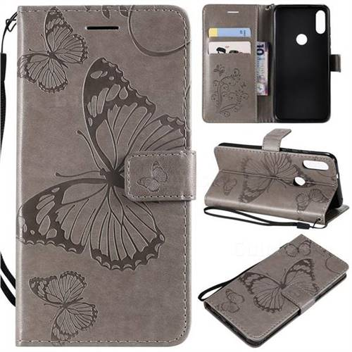 Embossing 3D Butterfly Leather Wallet Case for Xiaomi Mi Play - Gray