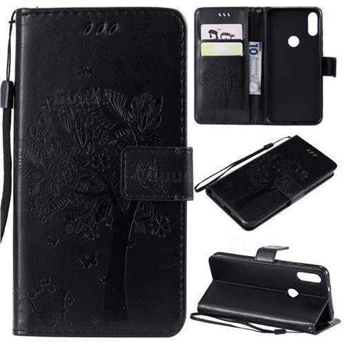 Embossing Butterfly Tree Leather Wallet Case for Xiaomi Mi Play - Black