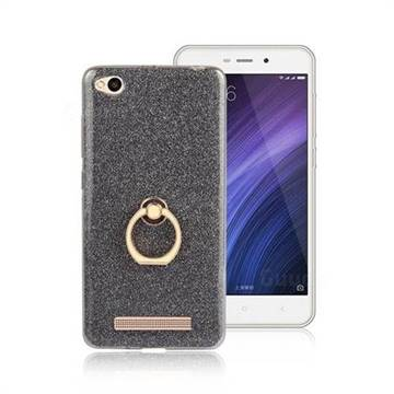 Luxury Soft TPU Glitter Back Ring Cover with 360 Rotate Finger Holder Buckle for Xiaomi Redmi 4A - Black