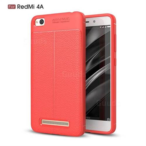 Luxury Auto Focus Litchi Texture Silicone TPU Back Cover for Xiaomi Redmi 4A - Red