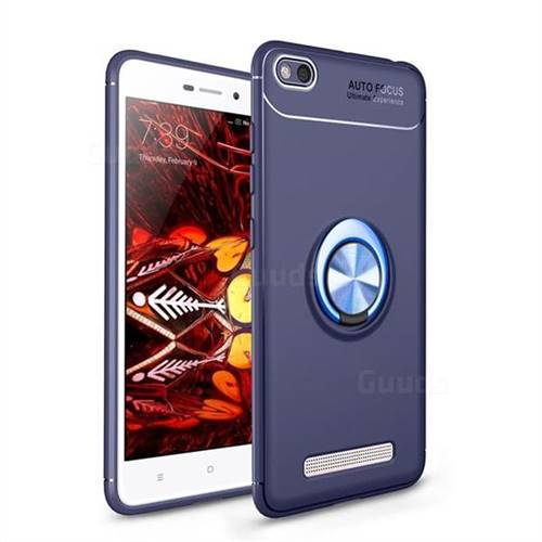 Auto Focus Invisible Ring Holder Soft Phone Case for Xiaomi Redmi 4A - Blue