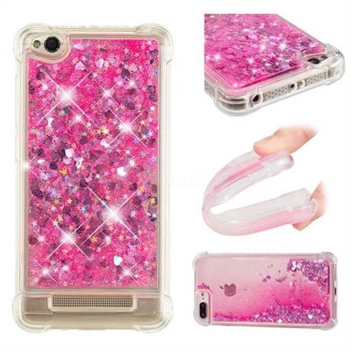 Dynamic Liquid Glitter Sand Quicksand TPU Case for Xiaomi Redmi 4A - Pink Love Heart