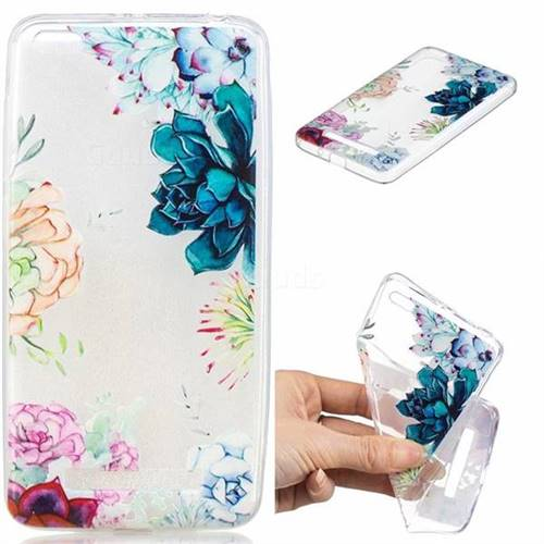Gem Flower Clear Varnish Soft Phone Back Cover for Xiaomi Redmi 4A