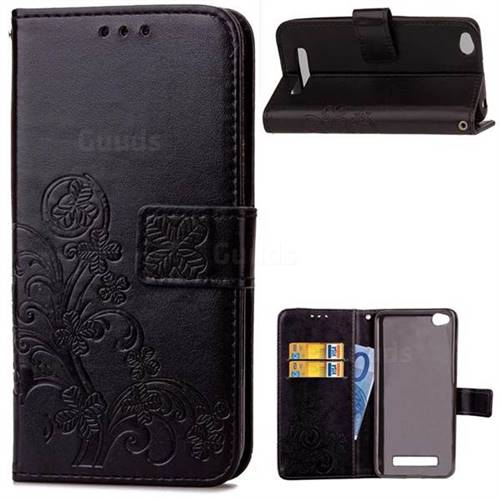 Embossing Imprint Four-Leaf Clover Leather Wallet Case for Xiaomi Redmi 4A - Black