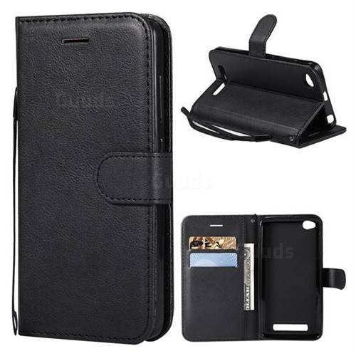Retro Greek Classic Smooth PU Leather Wallet Phone Case for Xiaomi Redmi 4A - Black
