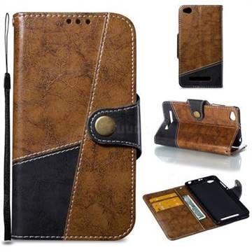 Retro Magnetic Stitching Wallet Flip Cover for Xiaomi Redmi 4A - Brown