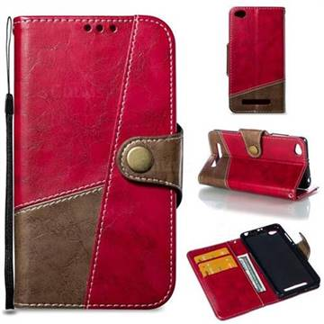 Retro Magnetic Stitching Wallet Flip Cover for Xiaomi Redmi 4A - Rose Red