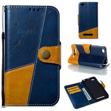 Retro Magnetic Stitching Wallet Flip Cover for Xiaomi Redmi 4A - Blue