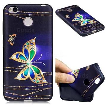 on sale f57e8 3caa0 Golden Shining Butterfly 3D Embossed Relief Black Soft Back Cover for  Xiaomi Redmi 4 (4X)