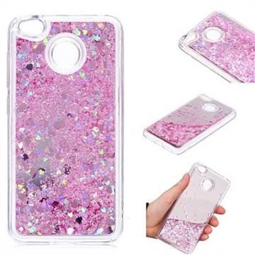 Glitter Sand Mirror Quicksand Dynamic Liquid Star TPU Case for Xiaomi Redmi 4 (4X) - Cherry Pink