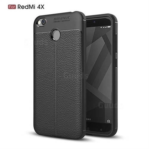 Luxury Auto Focus Litchi Texture Silicone TPU Back Cover for Xiaomi Redmi 4 (4X) - Black