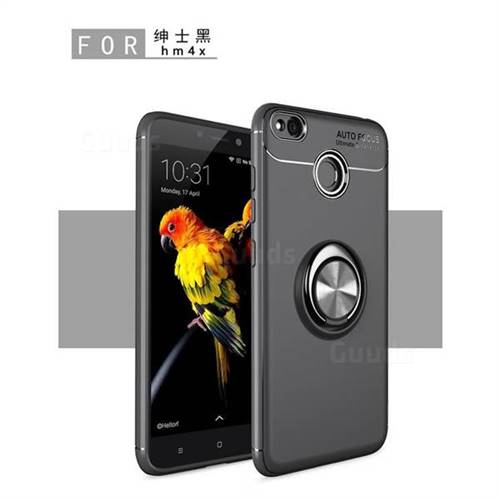 Auto Focus Invisible Ring Holder Soft Phone Case for Xiaomi Redmi 4 (4X) - Black