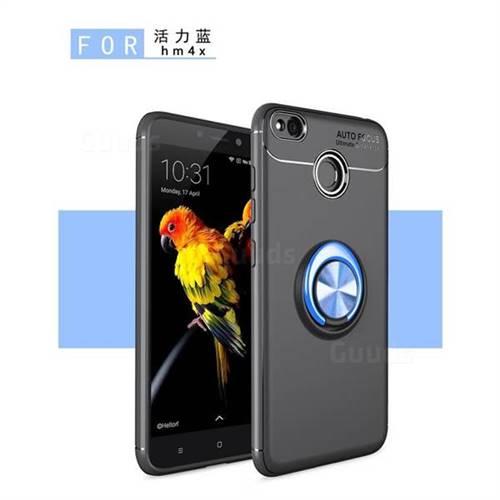 Auto Focus Invisible Ring Holder Soft Phone Case for Xiaomi Redmi 4 (4X) - Black Blue