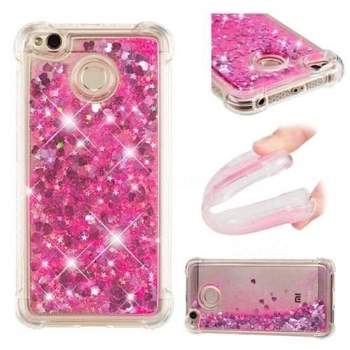 Dynamic Liquid Glitter Sand Quicksand TPU Case for Xiaomi Redmi 4 (4X) - Pink Love Heart