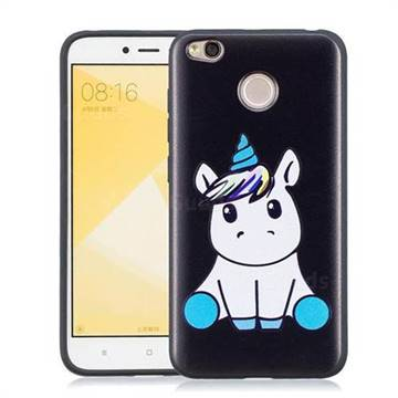the best attitude 80d0a 4cbb9 Cute Baby Unicorn 3D Embossed Relief Black Soft Phone Back Cover for Xiaomi  Redmi 4 (4X)