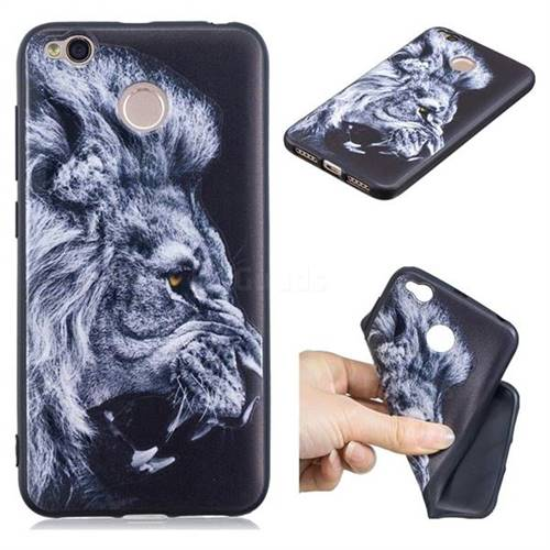 Lion 3D Embossed Relief Black TPU Cell Phone Back Cover for Xiaomi Redmi 4 (4X)