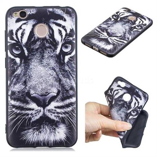 White Tiger 3D Embossed Relief Black TPU Cell Phone Back Cover for Xiaomi Redmi 4 (4X)