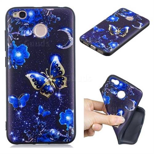 Phnom Penh Butterfly 3D Embossed Relief Black TPU Cell Phone Back Cover for Xiaomi Redmi 4 (4X)