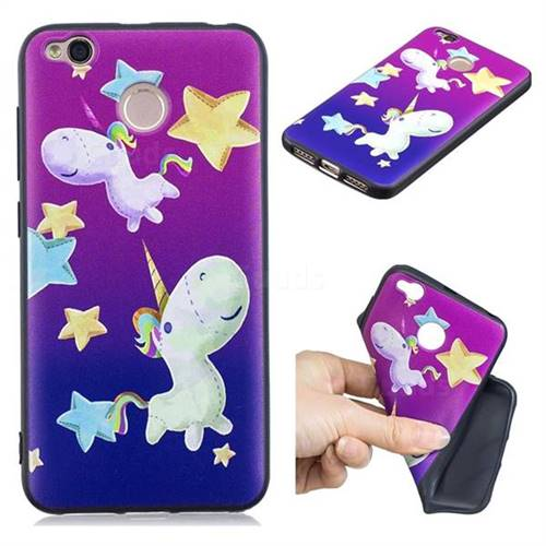 Pony 3D Embossed Relief Black TPU Cell Phone Back Cover for Xiaomi Redmi 4 (4X)