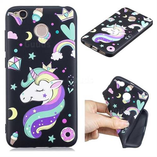 Candy Unicorn 3D Embossed Relief Black TPU Cell Phone Back Cover for Xiaomi Redmi 4 (4X)