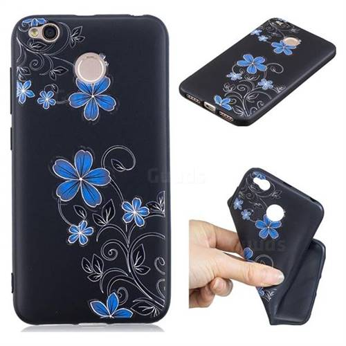 Little Blue Flowers 3D Embossed Relief Black TPU Cell Phone Back Cover for Xiaomi Redmi 4 (4X)