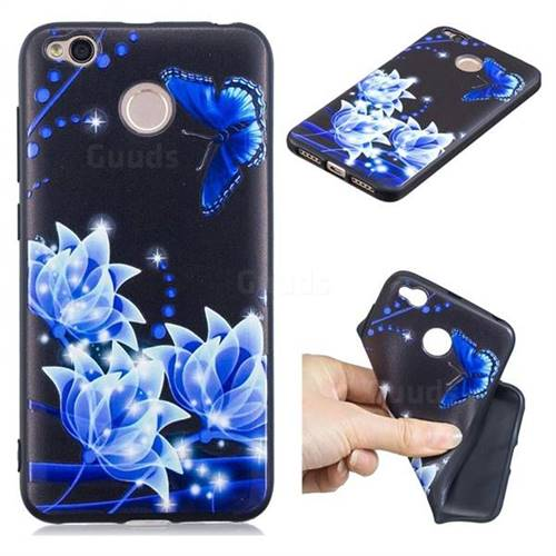 Blue Butterfly 3D Embossed Relief Black TPU Cell Phone Back Cover for Xiaomi Redmi 4 (4X)
