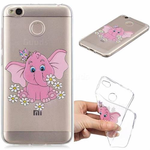 Tiny Pink Elephant Clear Varnish Soft Phone Back Cover for Xiaomi Redmi 4 (4X)