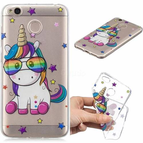 Glasses Unicorn Clear Varnish Soft Phone Back Cover for Xiaomi Redmi 4 (4X)