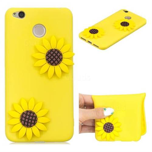 Yellow Sunflower Soft 3D Silicone Case for Xiaomi Redmi 4 (4X)