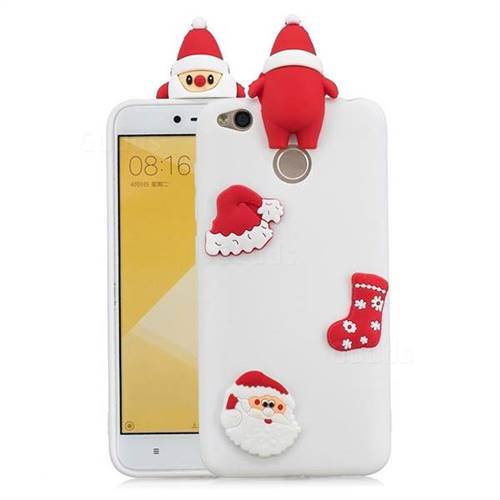 White Santa Claus Christmas Xmax Soft 3D Silicone Case for Xiaomi Redmi 4 (4X)