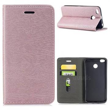 Tree Bark Pattern Automatic suction Leather Wallet Case for Xiaomi Redmi 4 (4X) - Rose Gold