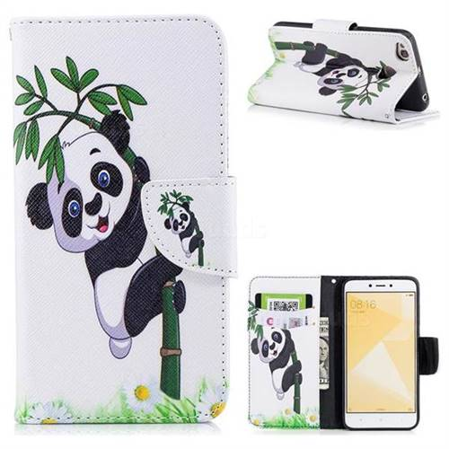 Bamboo Panda Leather Wallet Case for Xiaomi Redmi 4 (4X)