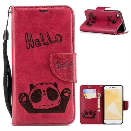 Embossing Hello Panda Leather Wallet Phone Case for Xiaomi Redmi 4 (4X) - Red