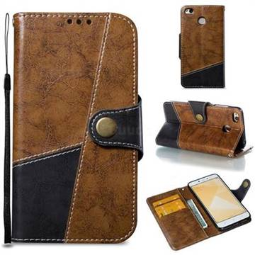 Retro Magnetic Stitching Wallet Flip Cover for Xiaomi Redmi 4 (4X) - Brown