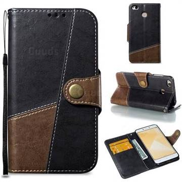 Retro Magnetic Stitching Wallet Flip Cover for Xiaomi Redmi 4 (4X) - Dark Gray