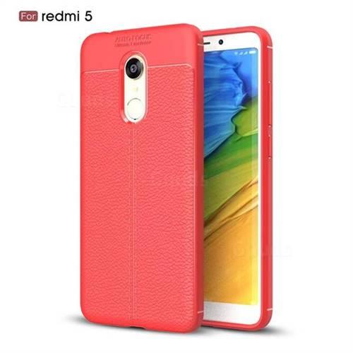 Luxury Auto Focus Litchi Texture Silicone TPU Back Cover for Mi Xiaomi Redmi 5 - Red