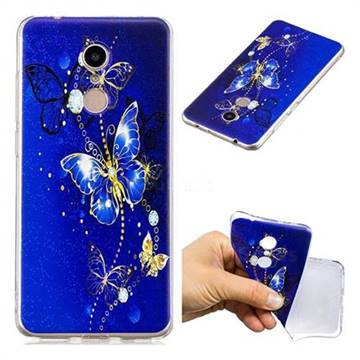 Gold and Blue Butterfly Super Clear Soft TPU Back Cover for Mi Xiaomi Redmi 5